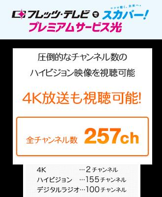 4K放送を含め、プレミアムサービス光で合わせて257チャンネルが視聴可能